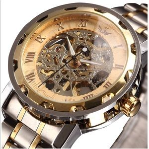 Other - Automatic Mechanical Skeleton Men Watch Steel Gold